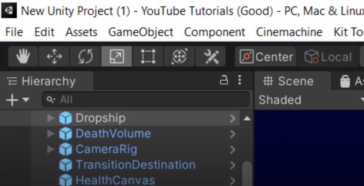 Unity hierarchy window (UI)
