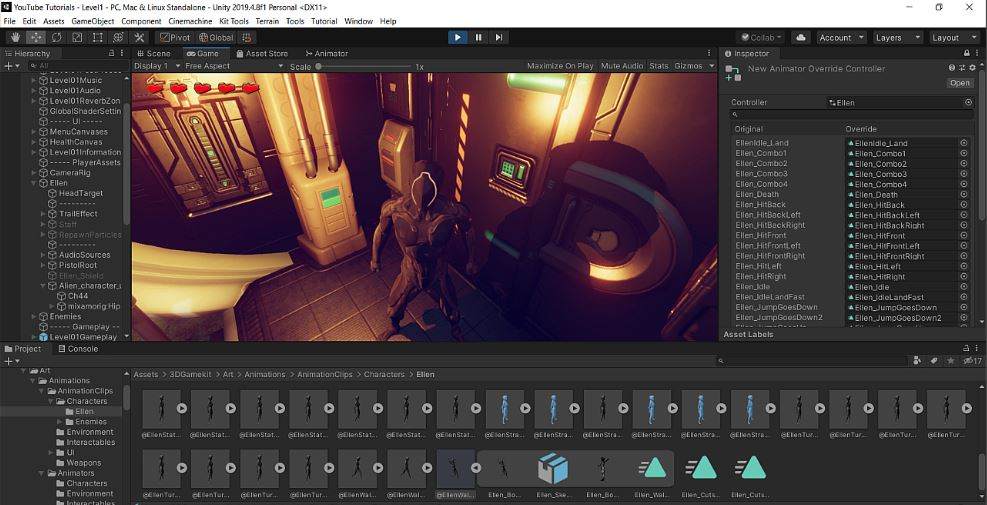 unity 3d game kit retarget Ellen character