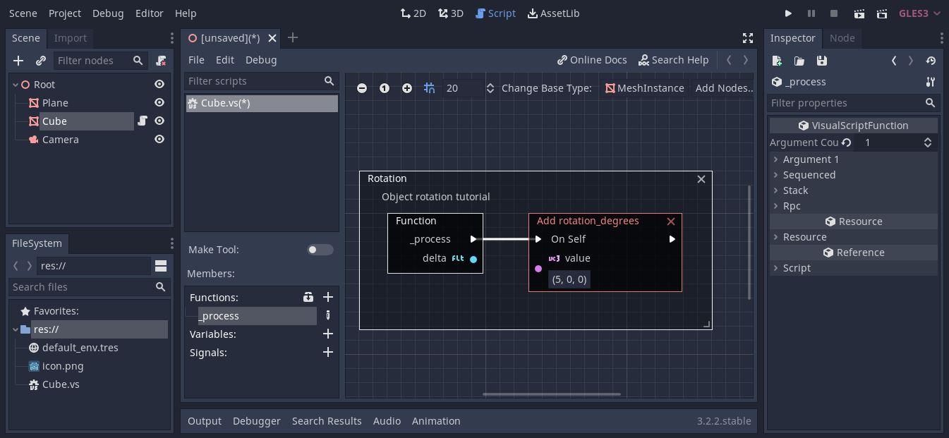 Godot visual scripting basics